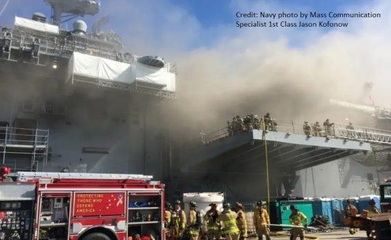 Fire on USS Bonhomme Richard