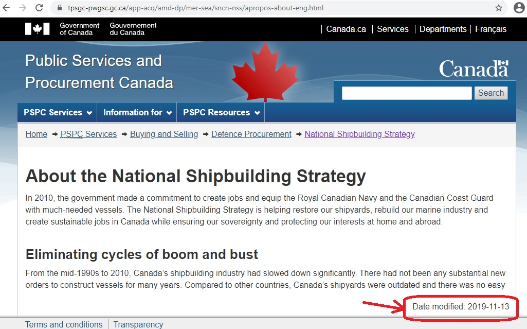 PSPC site outdated